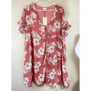 NWT Crescent Large Dress Women's Pink V-neck